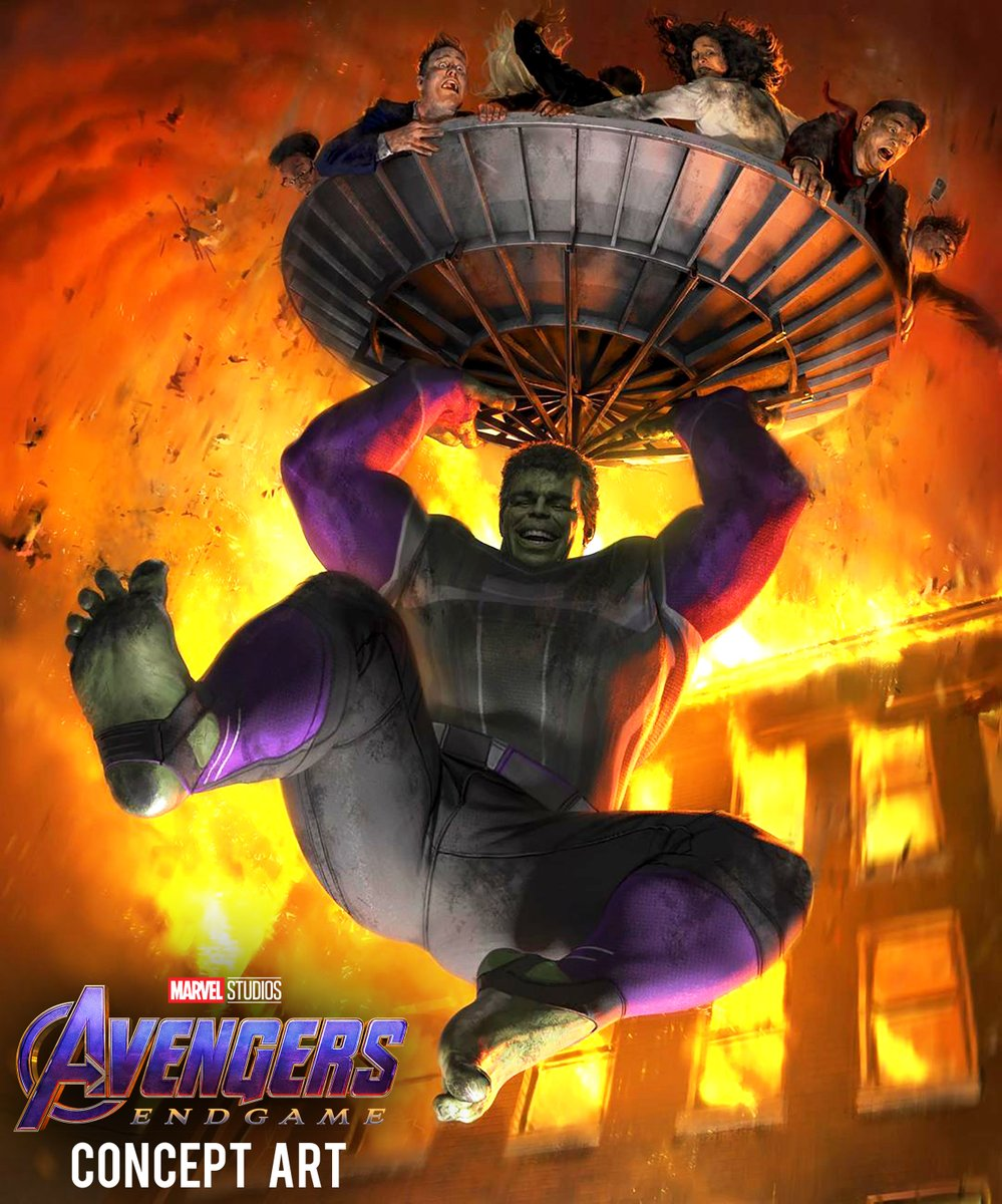 This newly-revealed #AvengersEndgame concept art shows a keyframe from one of the films deleted scenes during which Smart Hulk heroically saves people from a burning building! (via @MeinerdingArt)