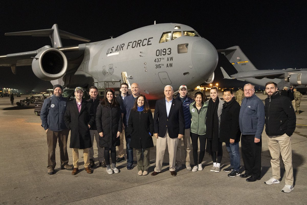 Team @VP at hour 29 on our return journey home from Iraq during a refuel at Ramstein Air Base.