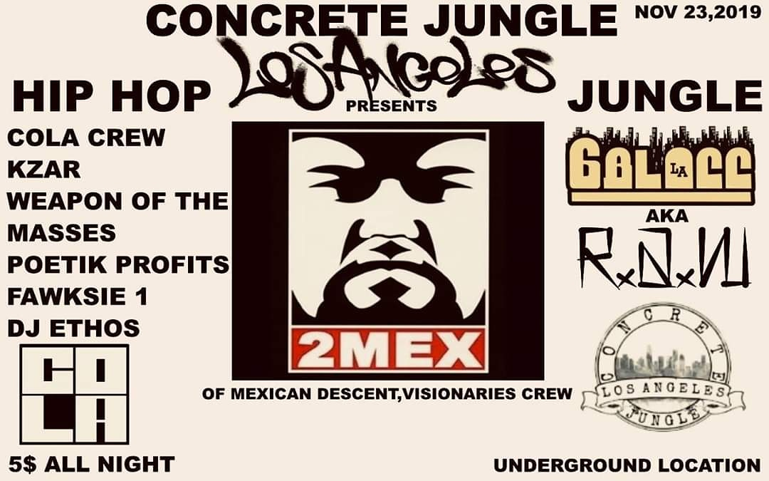 Tonight in Los Angeles. HIPHOP JUNGLE WARFARE #hiphop #hiphopculture #hiphopnation #junglistmassive #hiphopaddict #hiphopjunkies #hiphopheads #hiphopmusic #hiphoplives #junglist #Hiphopnews #undergroundhiphop #Undergroundrap #LAHiphop #hiphopshows pic.twitter.com/YyU1AVRl9l