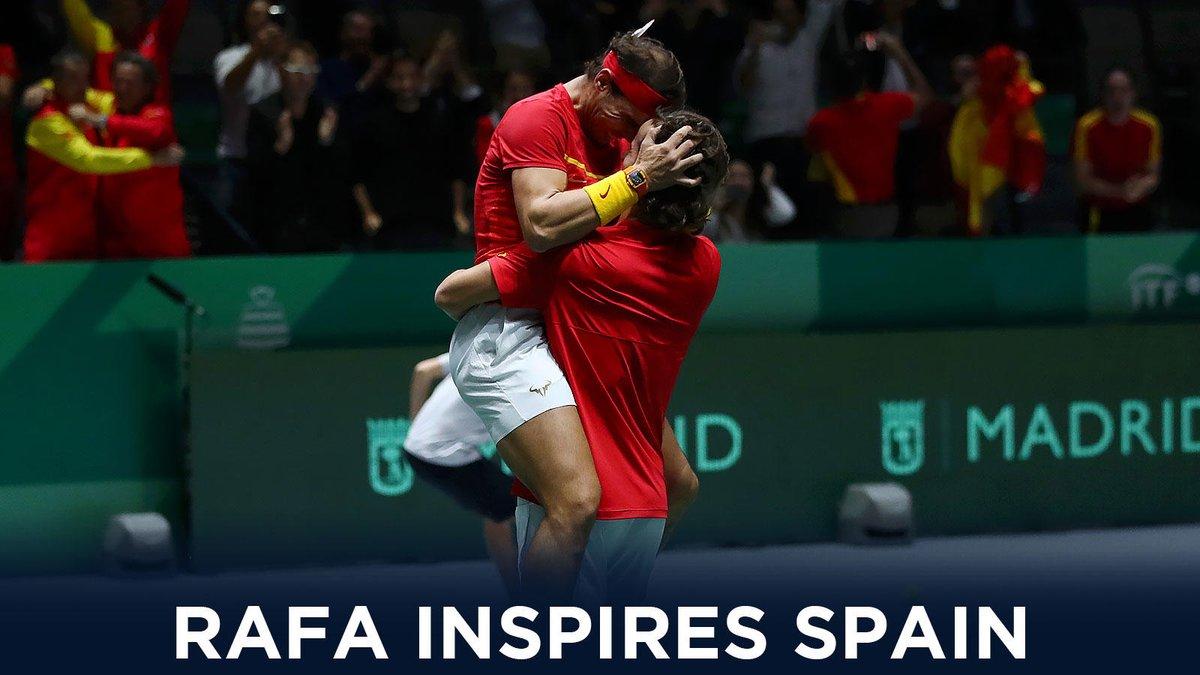 Vamos @RafaelNadal   Sensational Rafa leads @spaintenis to first @DavisCup final since 2012   While inspired @TennisCanada reach first ever final   #DavisCupMadridFinals <br>http://pic.twitter.com/qFmF8EHEZZ