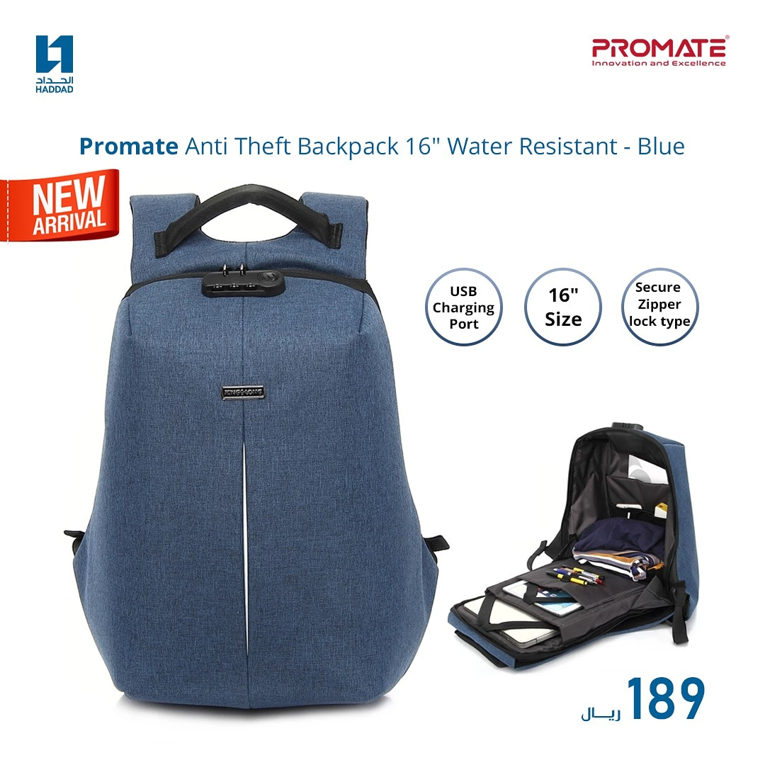 Get Promate Anti-theft Backpack and enjoy the safety with secured zipper lock in a comfortable, unique design. Shop now for 189 SAR👇🏼 Limited stock so hurry up 😉 https://t.co/ui5KP72RsZ https://t.co/Qz8W33tdEz