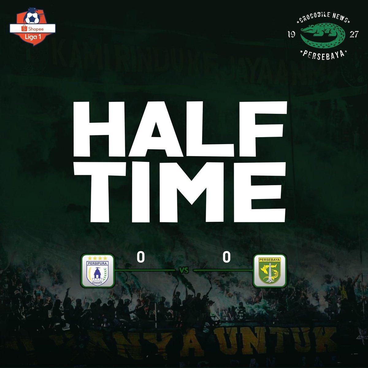 Half Time: Persipura 0-0 Persebaya  Masih sama-sama kuat dibabak pertama! Permainan dibabak pertama cukup biasa aja, belum ada peluang yang cukup membahayakan.  #Persebaya #bajolijo #greenforce #CrocodileNews #bonek #bonita #PersebayaDay
