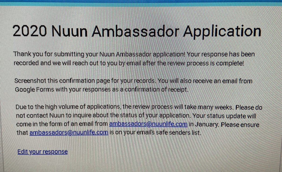 Just finished reapplying to be a @nuunhydration #Nuunbassador again! <br>http://pic.twitter.com/TUgqunSGP5