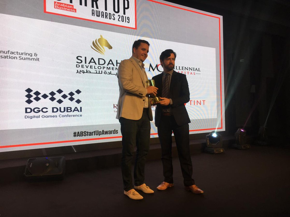 The Arabian Business Startup SME Leader of the Year award goes to Vilhelm Hedberg, who five years ago came up with idea for @myekar, which has grown from 15 cars to a multi-country service used by more than 80,000 customers across UAE and Saudi Arabia #ABStartUpAwards https://t.co/eAmhd36jEU