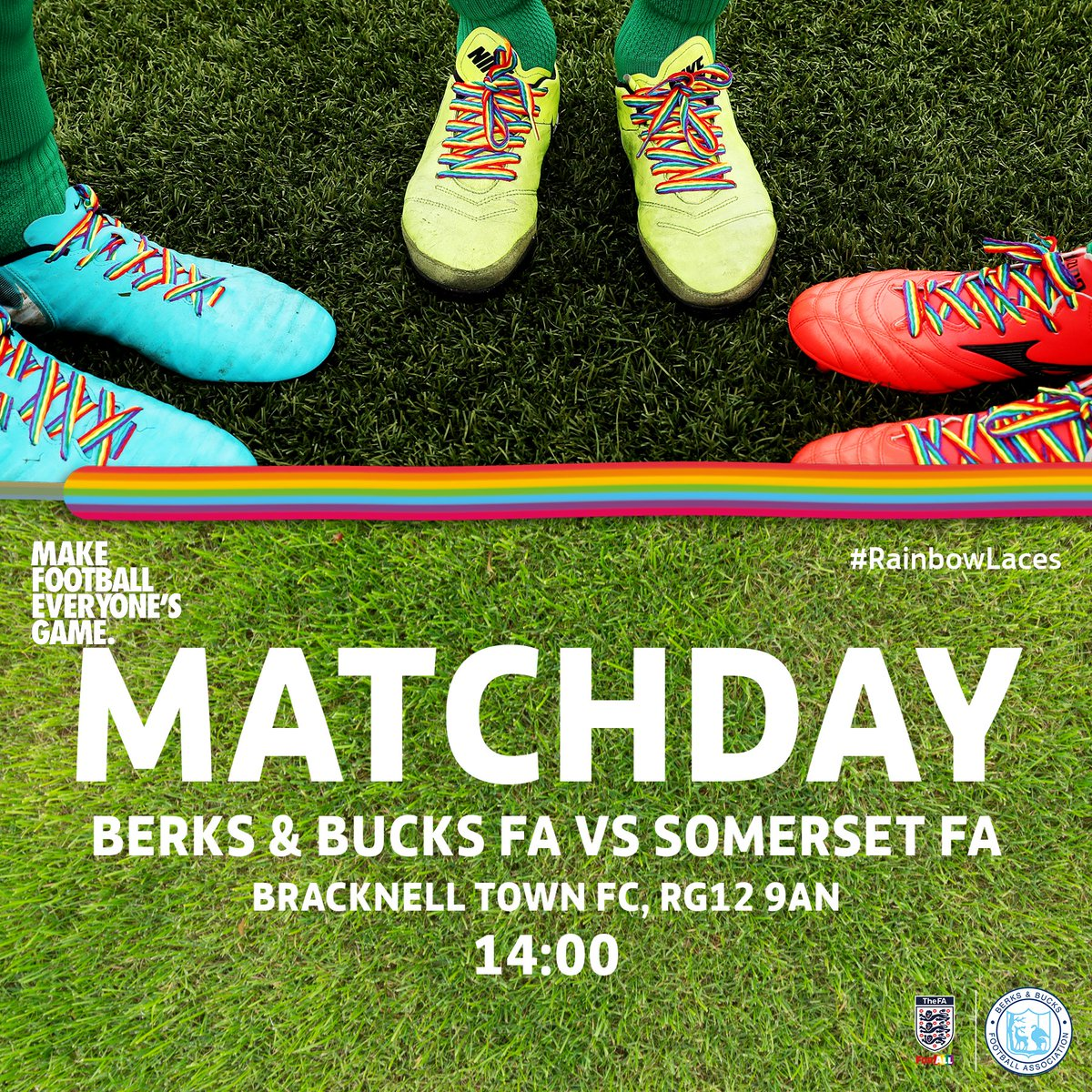 Getting ready here @BracknellTownFC for the @BerksBucksFA v @SomersetFA South West Counties Championship! KO in 20 mins and team news coming up shortly.... #BerksBucksFA #ForAll #RainbowLacesDay