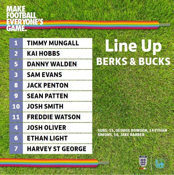 @BracknellTownFC @SomersetFA And the line up for todays U16 Rep Squad match from @BerksBucksFA is as follows... #RainbowLaces @stonewalluk @FA