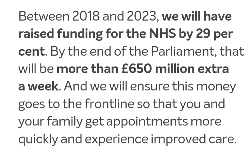 Not £350 million, not £384 million, £650 million-a-week extra into the NHS by 2023. That number on the side of the bus was an underestimate. #ConservativeManifesto
