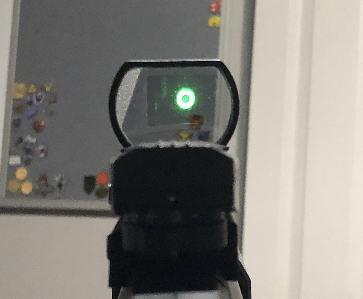 @JGODYT Here is my red dot in real life with a similar dot pattern. It uses a light reflected off of a mirror which could cause it to look blurry (it is really hard to take a pic it is not THAT blurry but more like your screenshot)