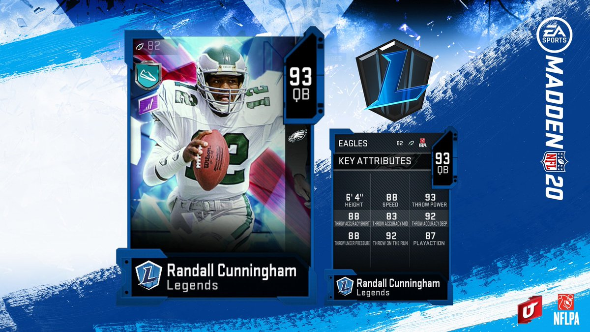Who is watching the 🦅 game? RT and Comment for a chance to win Randall Cunningham #Madden20