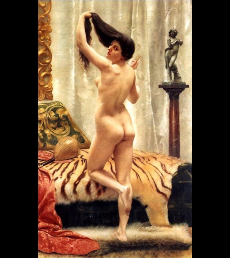 Before a Mirror (1887) by Robert Barrett Browning (UK, 1846-1912). The artist is the son of English poets Robert Browning & Elizabeth Barrett Browning. #Victorianpic.twitter.com/g3lKbQ7Pvb