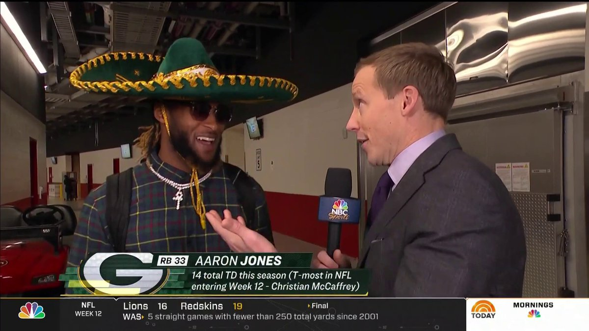 Sunday Night Football On Twitter Packers Rb Aaron Jones Girlfriend Bet Him He Wouldn T Wear A Sombrero Aaron Jones Wore The Sombrero Legend