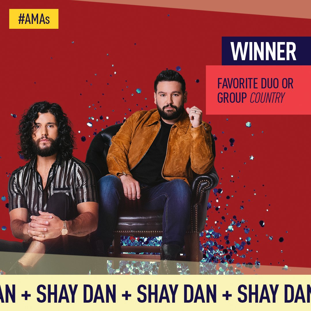 Congrats to @DanAndShay they're taking home an #AMAs for Favorite Duo or Group - Country 🏆