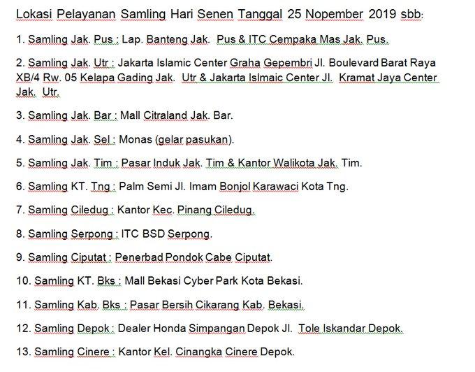 Lokasi Pelayanan Samling Hari Senen,Tanggal 25 November 2019