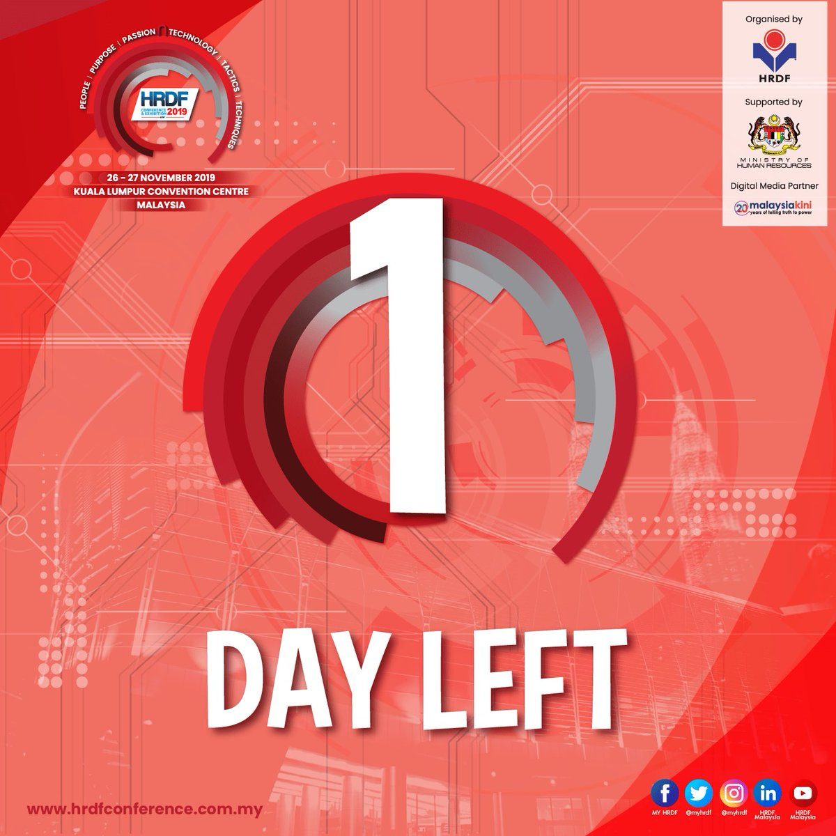 TICK TOCK!  The HRDF Conference & Exhibition 2019 is happening tomorrow!  Think it's already too late to get your tickets? GOOD NEWS! You can register on-site at the Kuala Lumpur Convention Centre tomorrow!  Where else? Visit https://t.co/KKS4PPVlW3 to know more. https://t.co/SGP73UqO9D