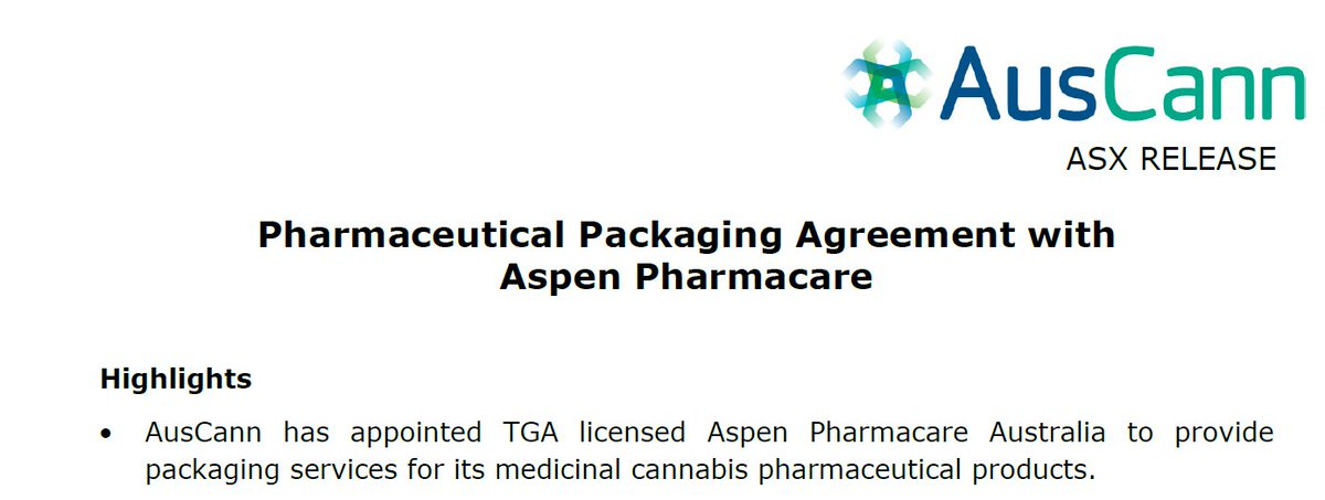 Announcing today a packaging agreement with @aspenpharma for our medicinal cannabis pharmaceutical products