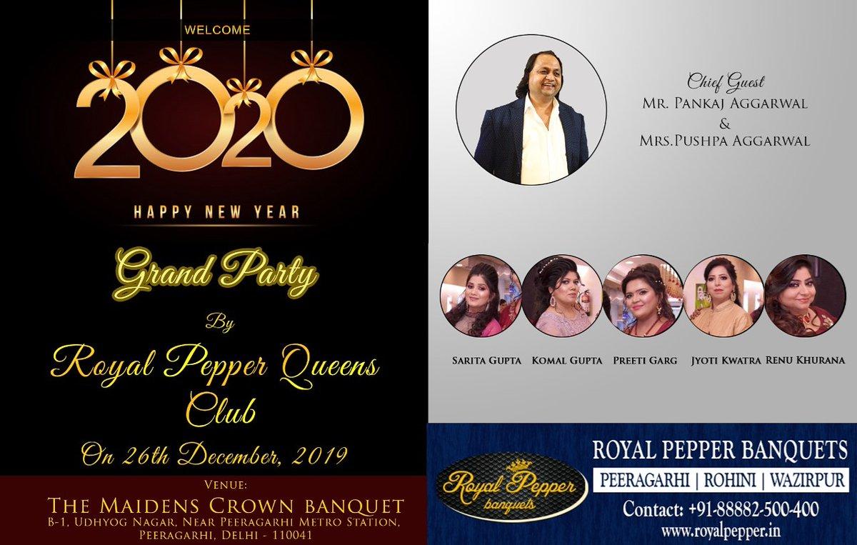 RoyalPepper QueensClub invites  Shri Pankaj Aggarwal ji & Mrs Pushpa Aggarwal ji as Chief Guest   At Our New Year Celebrations on 26th Dec 2019   @royalpeppers  #newyear #year2020 #celebrations<br>http://pic.twitter.com/0GIYY2q9bN