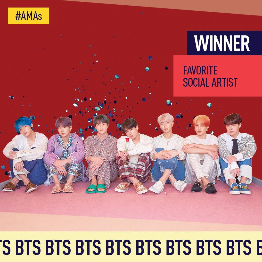 You voted 🤳and the winner of the #AMAs Favorite Social Artist is @BTS_twt! Congrats on winning for the second year in a row!