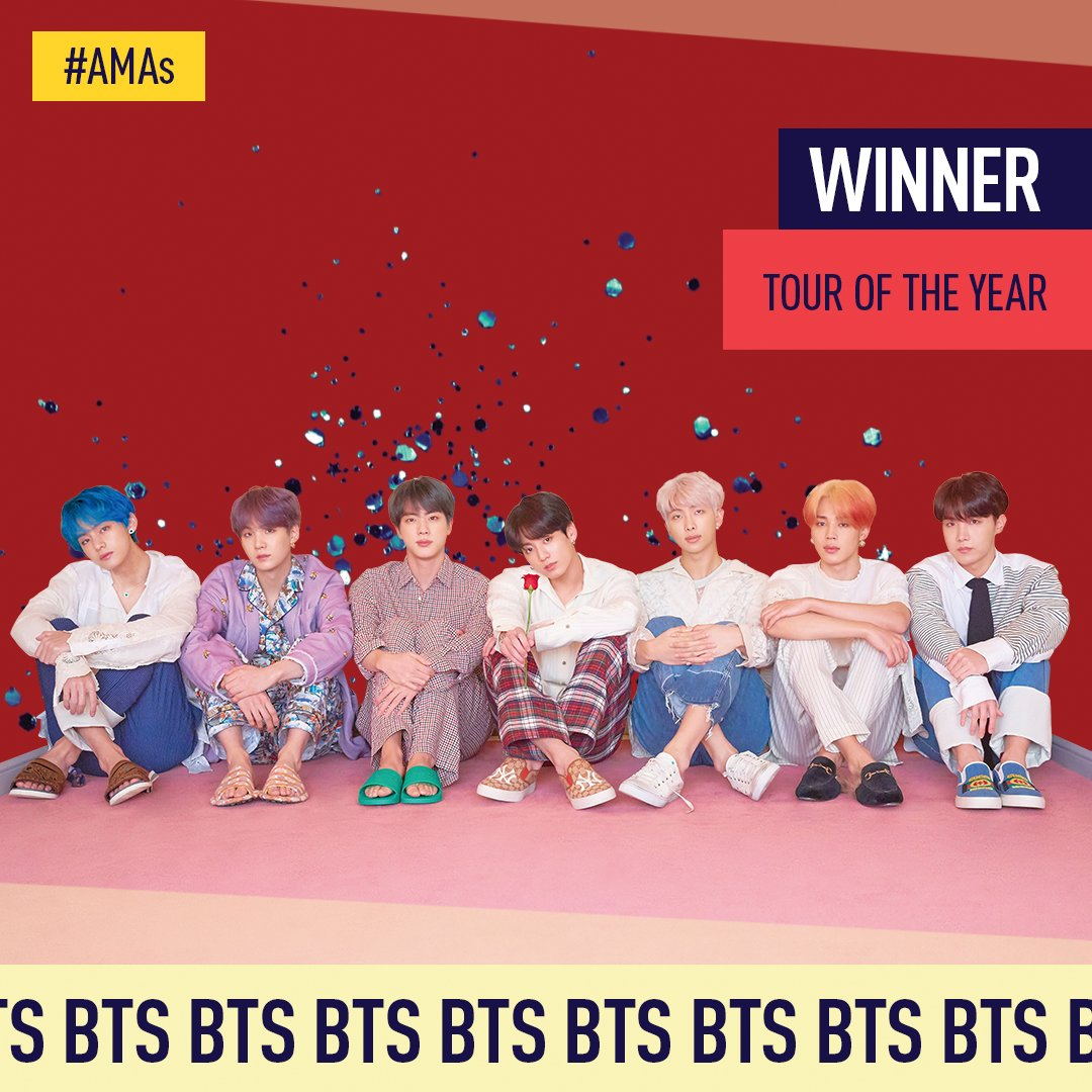 Congrats @BTS_twt on winning the #AMAs Tour of the Year! ♥️