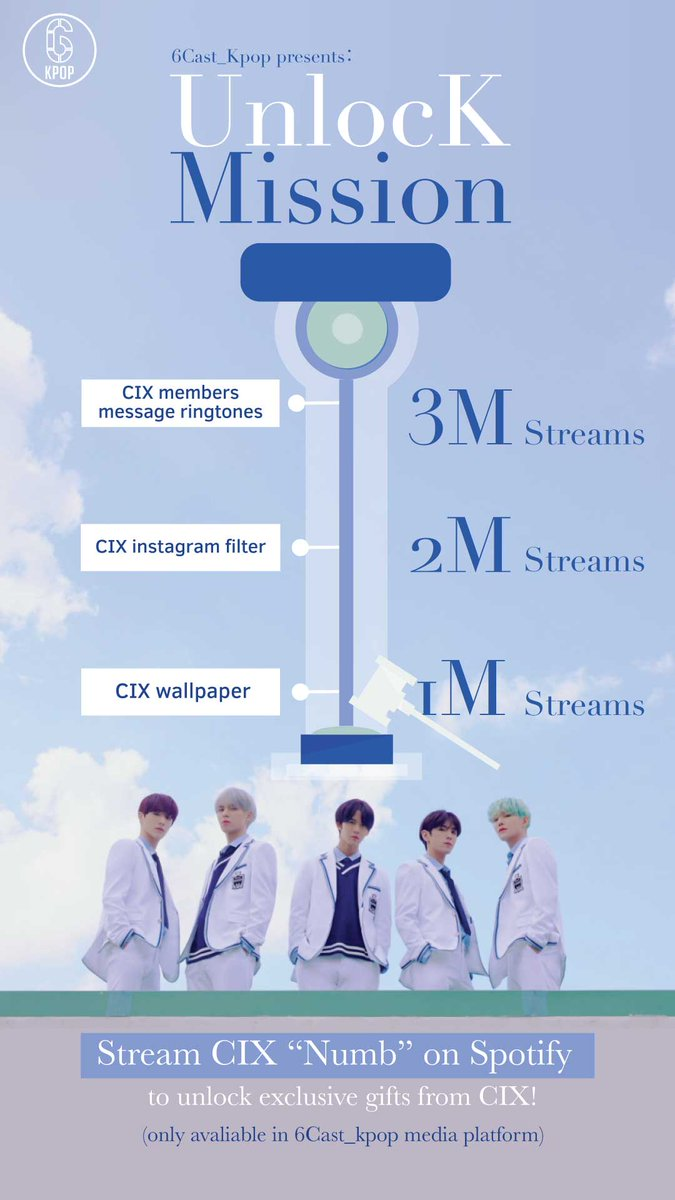 6cast Kpop On Twitter Streaming Cix S Numb On Spotify 6castk Will Reveal Exclusive Gifts If Fix And Reach The Target Streams 1m Wallpaper 2m Instagram Filter 3m Message Ringtones