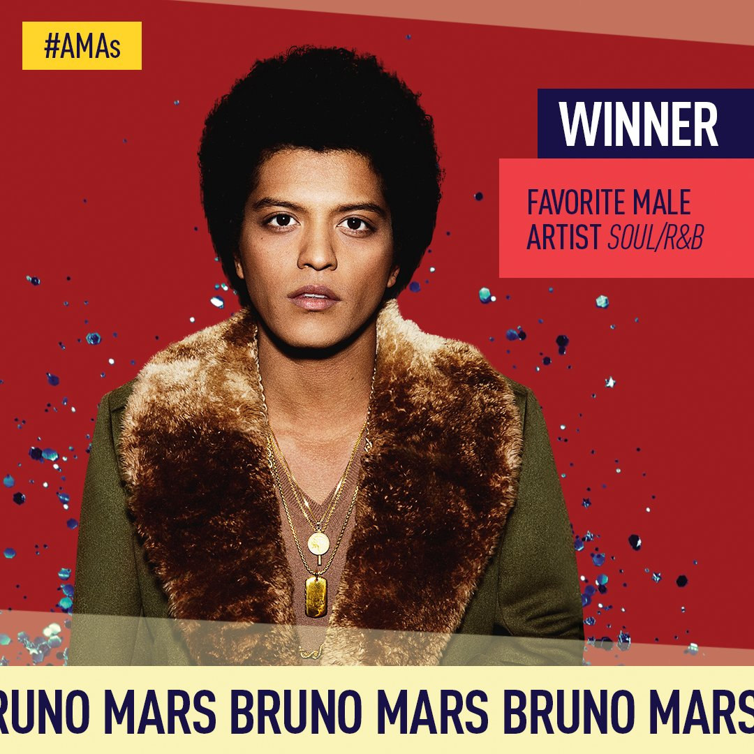 You voted 🤳 and the winner of the #AMAs Favorite Male Artist - Soul/R&B is @BrunoMars! Congrats!