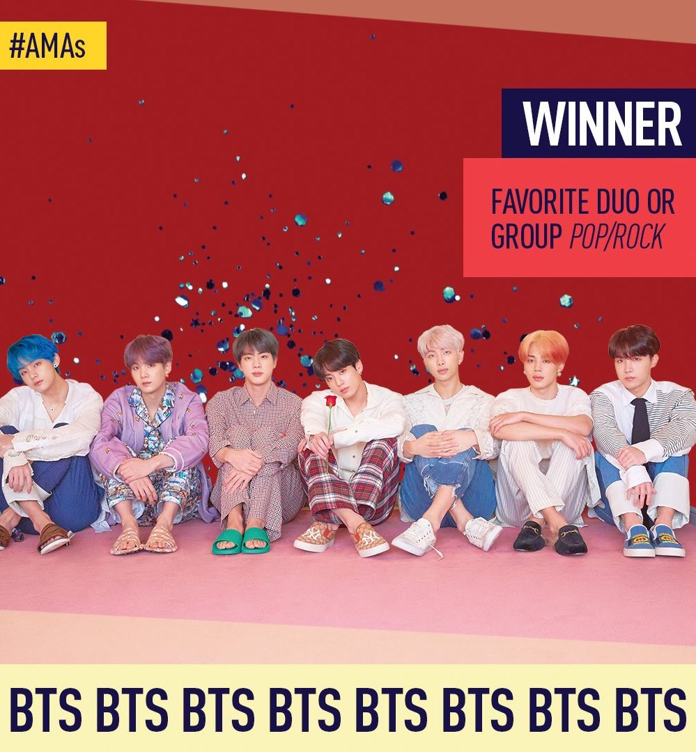 BTS Menang Favorite Duo or Group Pop/Rock, Tour of the Year, dan Favorite Social Artist di American Music Awards 2019