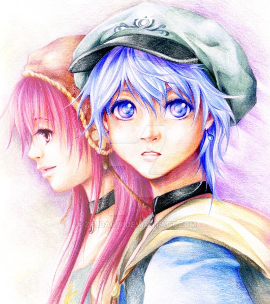 #2009v2019 I played with colored pencils more often back in 2009 ^^ Reyn and Flora from my graphic novel project [Rain of Flowers] (went on hiatus in 2010 after I chose to work mainly on MYth)