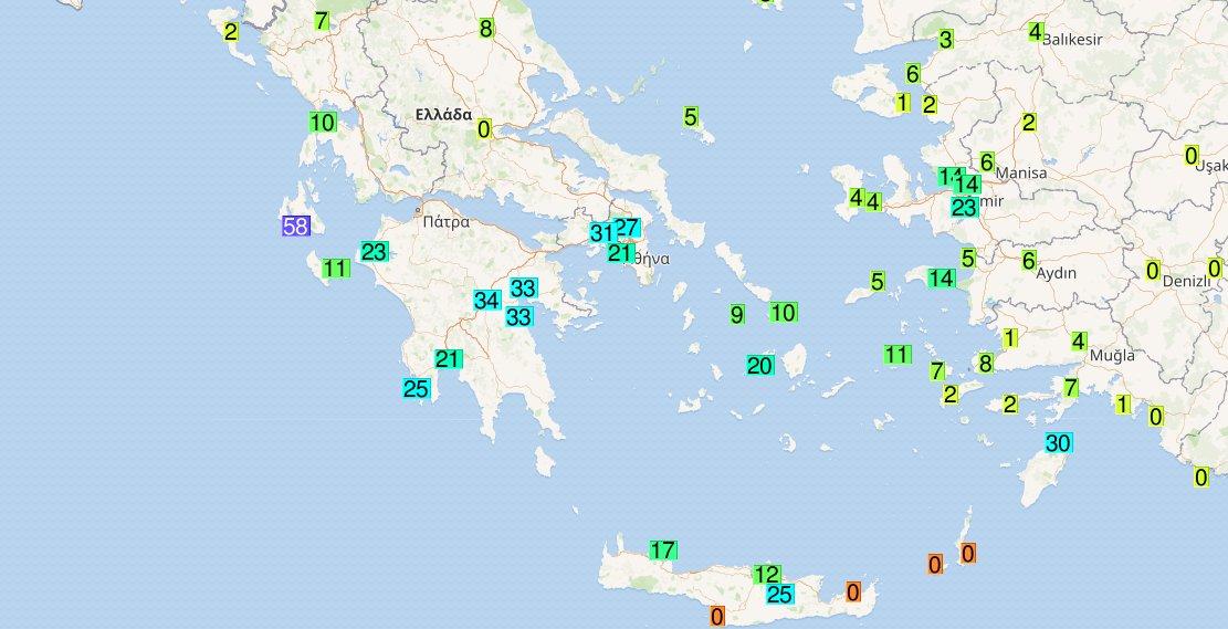 Tα ύψη βροχής 12ωρου εως και τις 6 UTC το πρωί , οι πυρηνες των καταιγίδων που βρίσκονται στο κεντρικό και νότιο Αιγαίο με ανατολική ΒΑ κατεύθνση με τάση εξασθένησης την επόμενη ώρα .