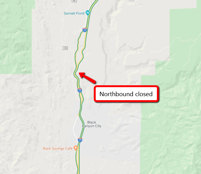 CLOSURE: I-17 northbound is CLOSED due to a crash north of Black Canyon City at milepost 248. Motorists are advised to delay travel as there is no estimated time to reopen the northbound lanes. #aztraffic
