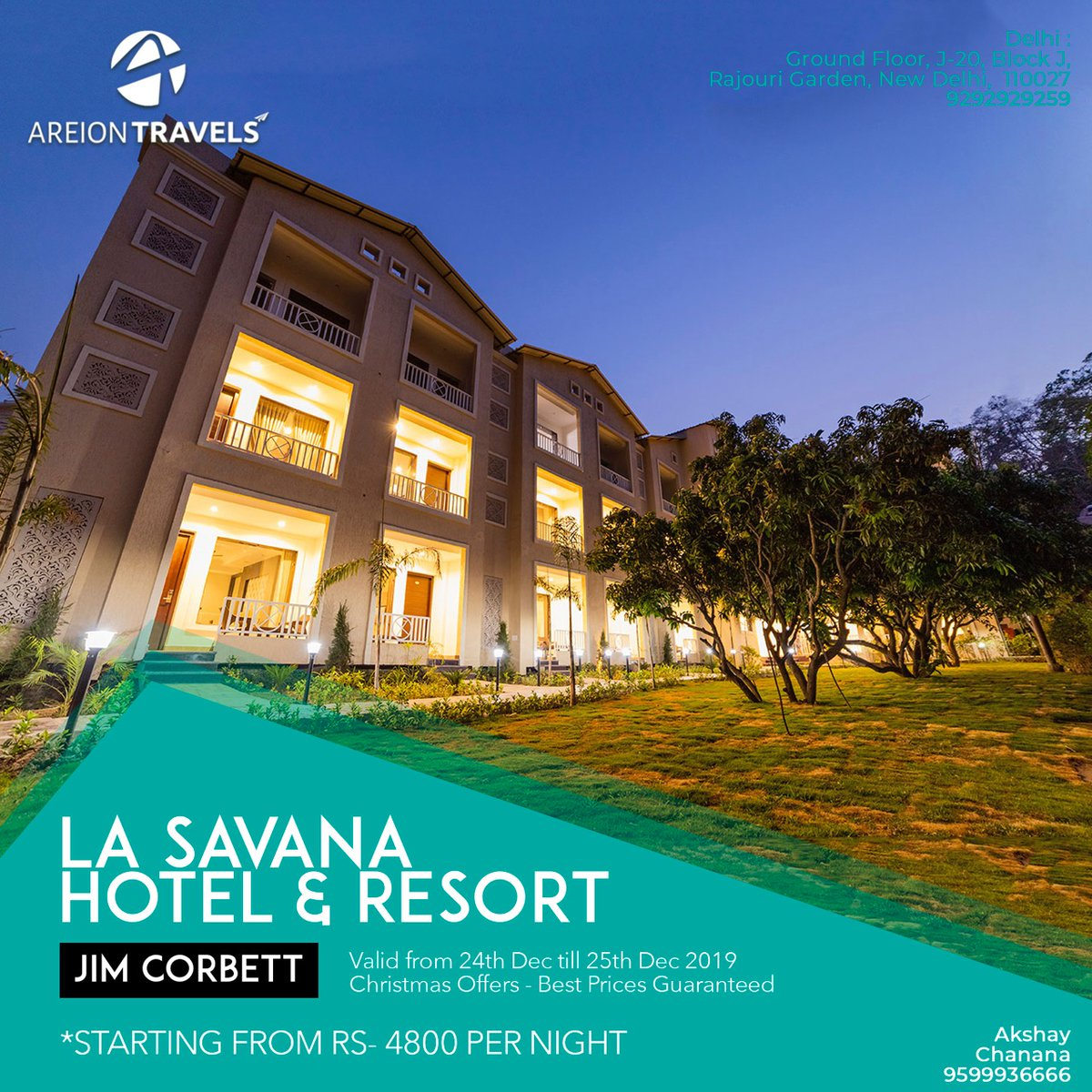 Our Christmas special package at La Savana Hotel And Resort brings you the perfect escape from the hectic city life. Great deals and discounts will keep your pockets lighter and your spirits high. Contact us today to know more - 9599936666.  #Corbett #ExploreTheWild pic.twitter.com/O9XkcmQHIX