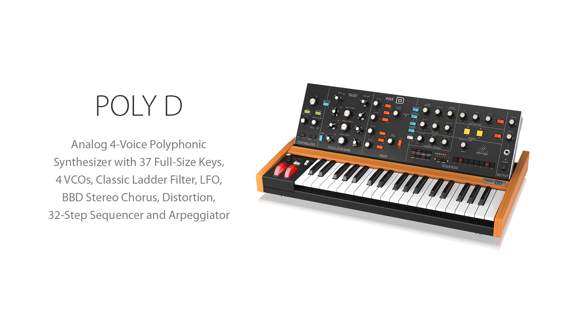 Behringer On Twitter Poly D Https T Co 1bmp02owzj Analog 4 Voice Polyphonic Synthesizer With 37 Full Size Keys 4 Vcos Classic Ladder Filter Lfo Bbd Stereo Chorus Distortion 32 Step Sequencer And Arpeggiator Behringer Polyd Analog Shop for the behringer poly d analog polyphonic synthesizer and receive free shipping on your order and the guaranteed lowest price. arpeggiator behringer polyd analog