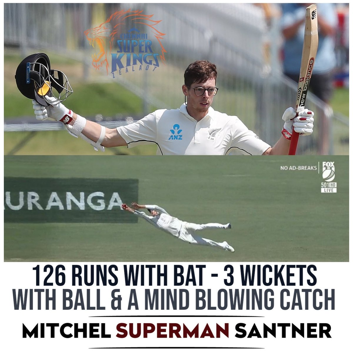 An Unforgettable Day to our @ChennaiIPL Super King Santner  as his blockbuster all-round efforts won the match against Eng !!   #Santner #ENGVNZ <br>http://pic.twitter.com/OOwxPzBfjc