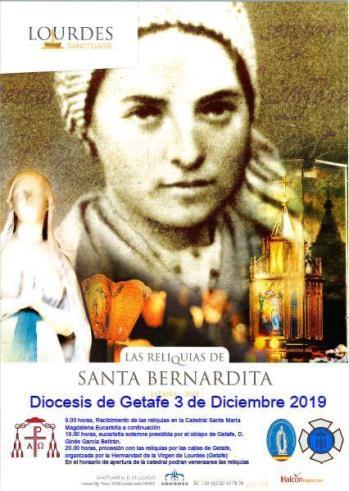 Mañana martes recibiremos en la #Catedral las reliquias de santa Bernardita de #Lourdes. Por la tarde habrá una procesión que recorrerá las calles de #Getafe. https://www.diocesisgetafe.es/index.php/noticias/convocatorias/265-convocatorias-2019/5658-las-reliquias-de-santa-bernardita-visitan-getafe…