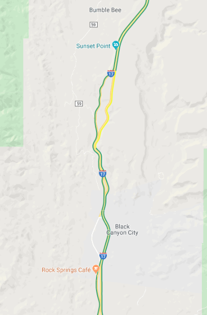 Traffic is clearing up quite well on I-17 northbound north of Black Canyon City. There is now just moderate slowing up to Sunset Point. #aztraffic