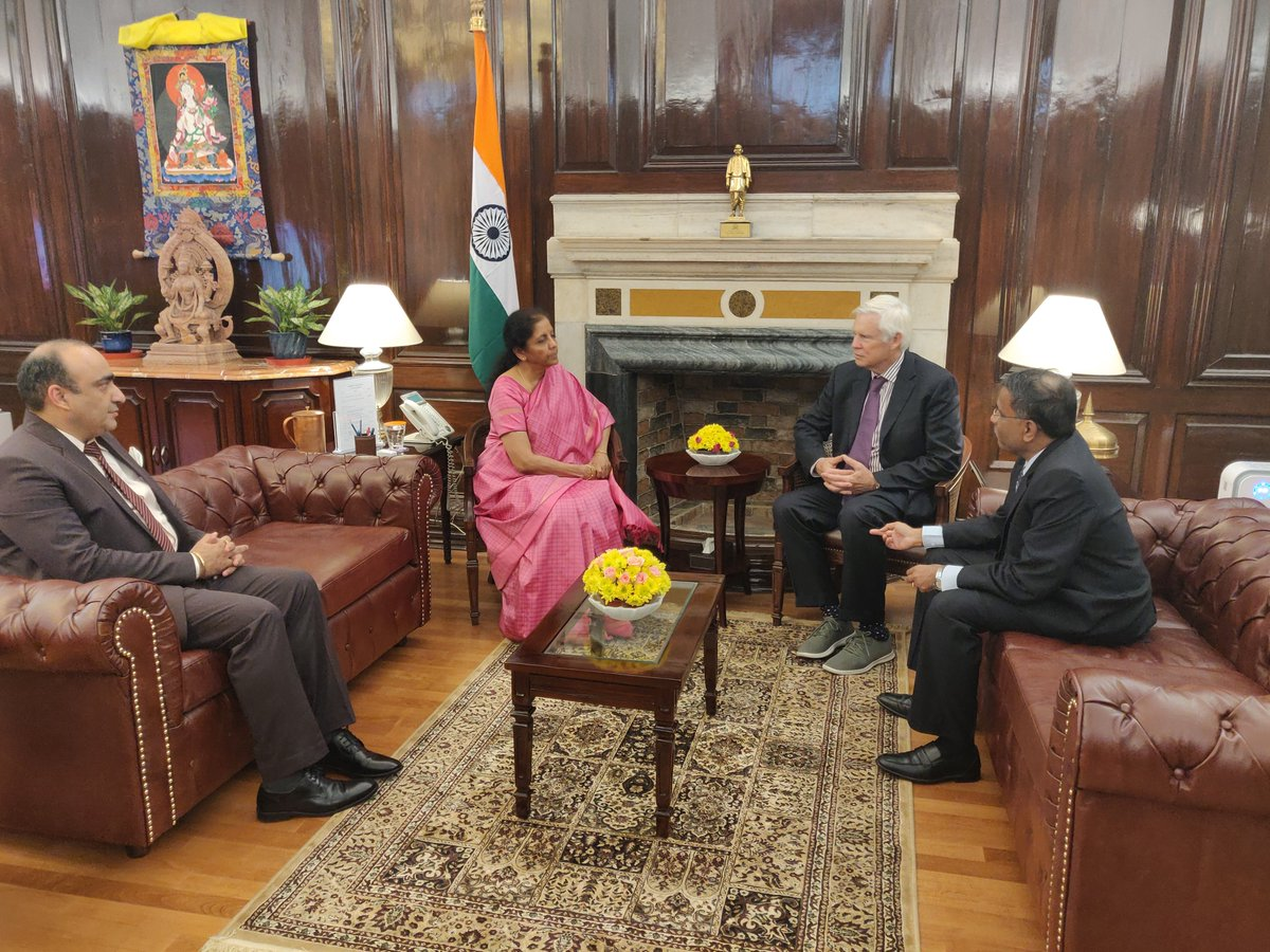 Prof. Robert F. Engle, Nobel Memorial Laureate in Economic Sciences calls on Smt @nsitharaman. Shri Vikram Limaye, Managing Director and CEO of the National Stock Exchange is also present.