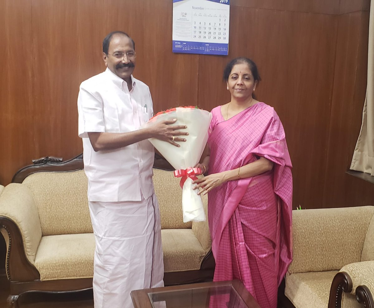 Shri @PThangamanioffl, Honble Minister for Electricity, Prohibition & Excise, Government of Tamil Nadu, calls on Smt @nsitharaman