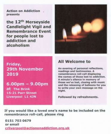 This Friday @BrinkLiverpool will hold its annual Merseyside Candlelight Vigil and Remembrance evening for people lost to alcohol and addiction. Taking place from 6pm at 15-21 Parr Street, the event will be an evening of reflection, readings and testimonies. All welcome.