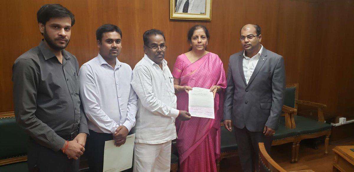 Delegation led by Shri P. Ramulu, Honble MP (LS) calls on Smt @nsitharaman