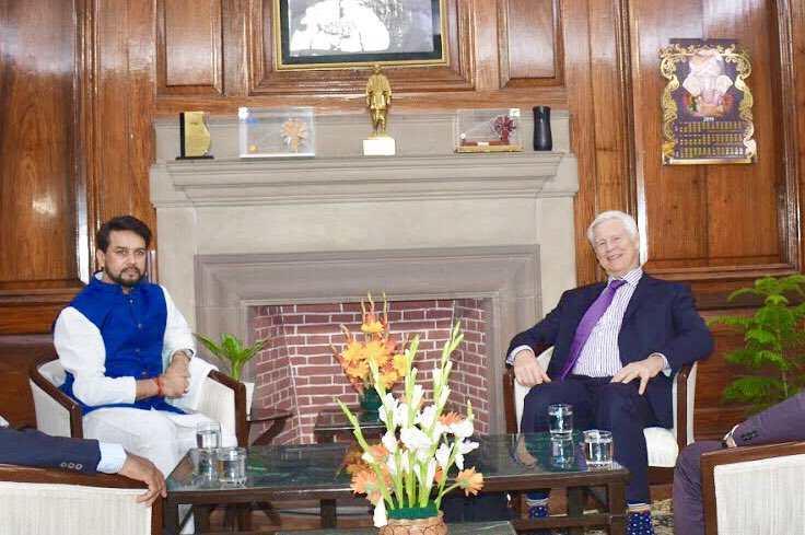 Prof. Robert Engle (Nobel Laureate in Economics) called on MoS @ianuragthakur. They discussed economic issues of mutual interest. The Professor had received the prize for methods of analyzing economic time series with time-varying volatility (ARCH). | @FinMinIndia |