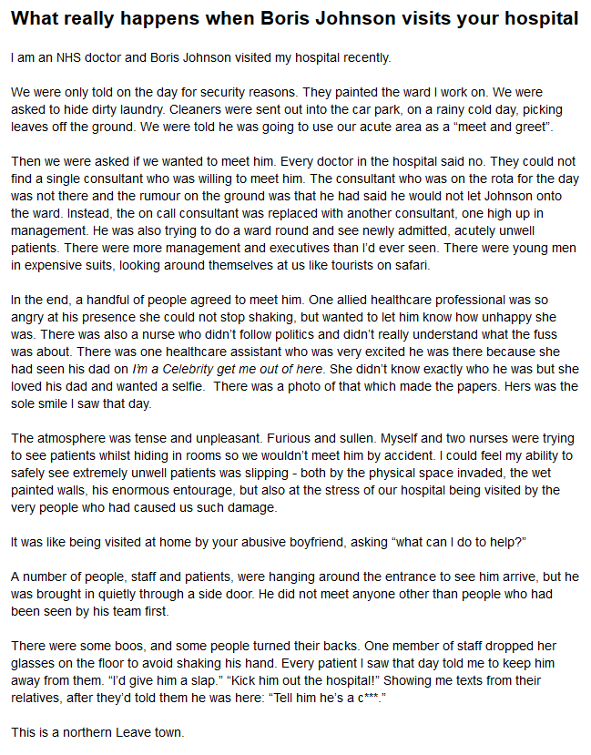 This is the truth of what happens when @BorisJohnson visits your hospital. This has been written by an anonymous friend of mine. Please read. Please share. It is the truth about our #NHS - the lies cannot continue@JonAshworth @OwenJones84 @shaunjlawson  @jonworth @IanDunt