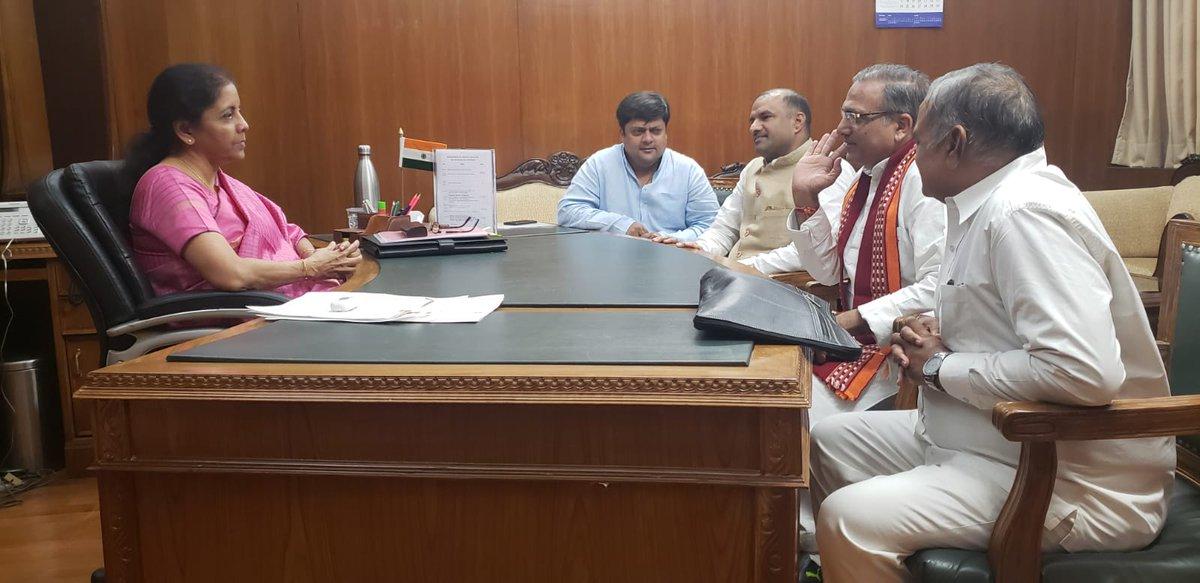 Shri Subhash Chandra Baheria, Shri @mpsudhirgupta, Shri @cpjoshiBJP, and Shri Dushyant Singh, Honble Members of Parliament (LS), call on Smt @nsitharaman