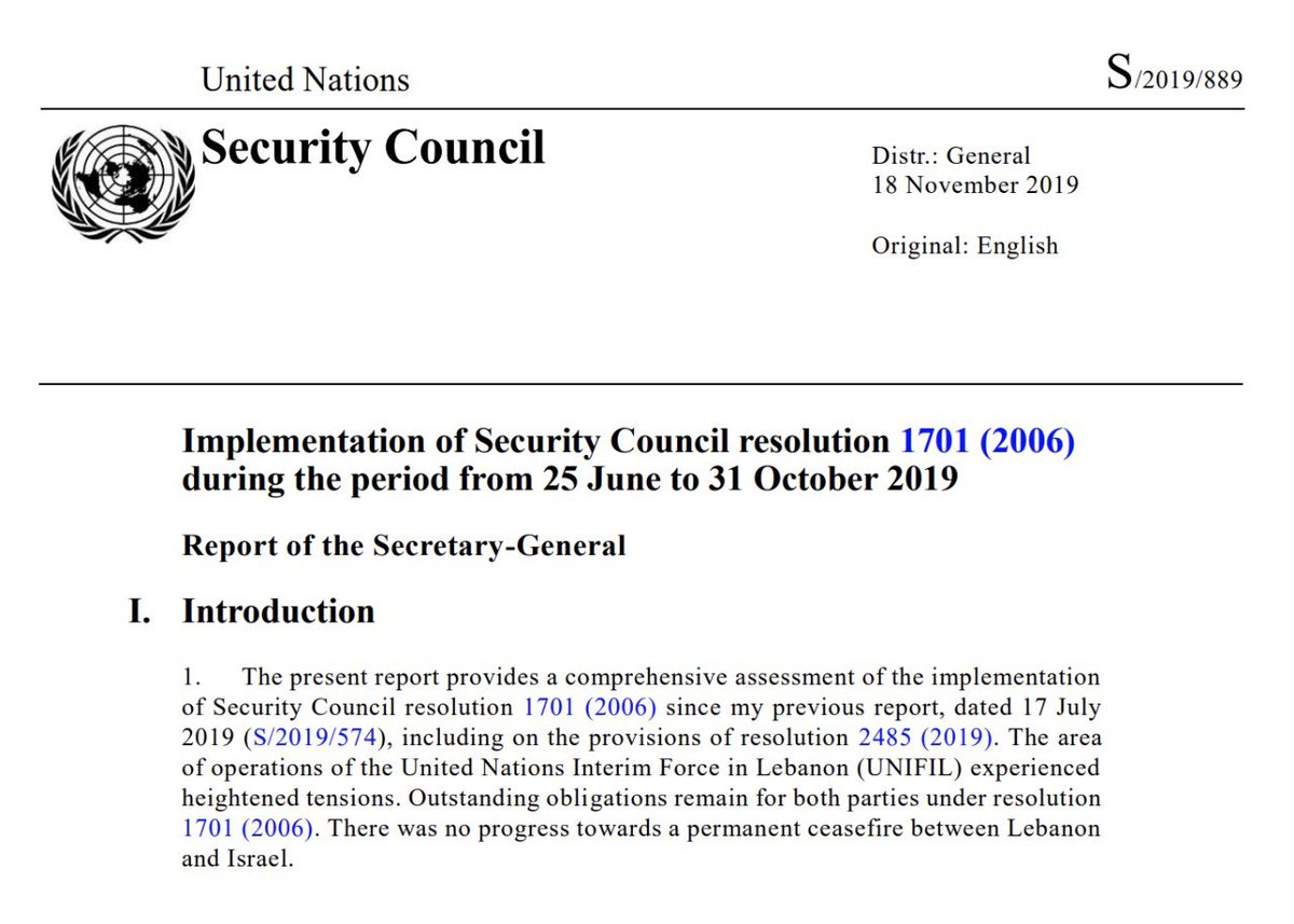 Latest report of SG @antonioguterres on #UNSCR1701 is out. It focuses on the situation in #UNIFIL's area of operations from 25 June to 31 October & on UNIFIL's activities in south #Lebanon carried out in coordination w/ @LebarmyOfficial. For more: https://bit.ly/2QOJbKk #A4P