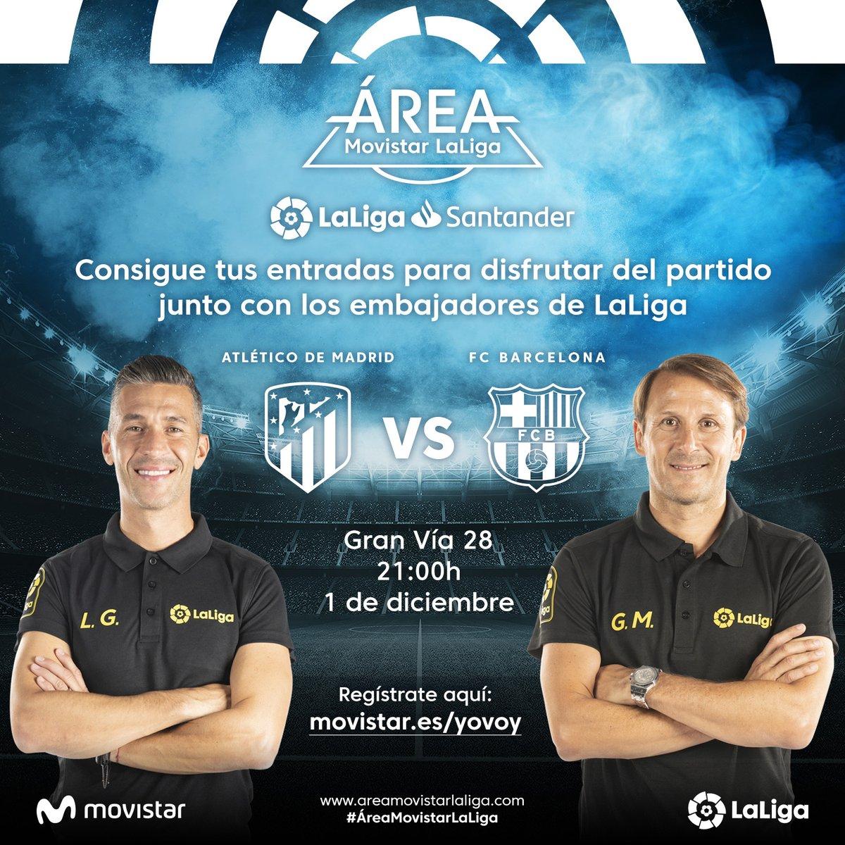 ⚽ ¡Vive el partido entre @Atleti y @FCBarcelona con un visionado especial en el #ÁreaMovistarLaLiga! 👉 Consigue tu entrada: movistar.es/particulares/a…
