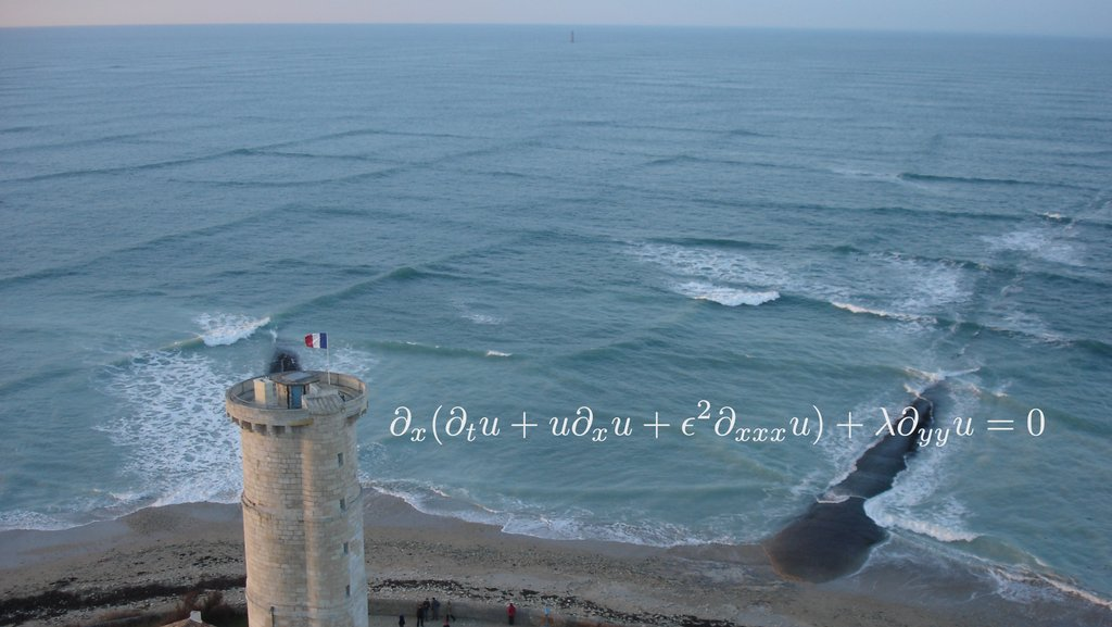 When 2 wave systems traveling at oblique angles coincide it creates a dangerous pattern known by cross sea. The interaction of these waves is modeled by the Kadomtsev–Petviashvili equation.