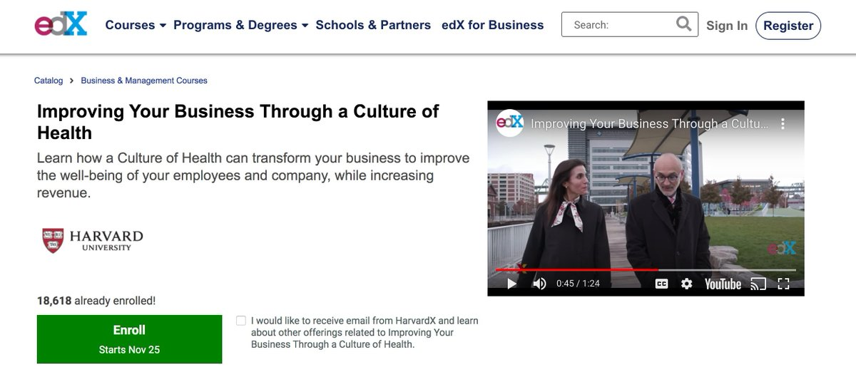 Looking for a #Free course on #Health? Join me, Howard Koh, Amy Edmondson+other Harvard Faculty on a journey to learn about creating a culture of health. My module is about taking care of YOU! 18,618 people have taken the course already! bit.ly/2Dgu6JK #MondayMood #CEOs