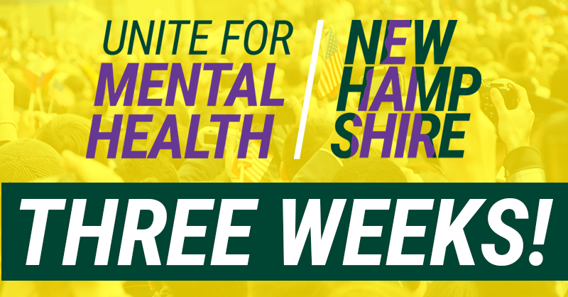 Let the countdown begin 🗓️ Only three weeks until the Unite for Mental Health: New Hampshire Town Hall with @NationalCouncil and @NH4MH. Learn more about the event & how you can join in-person or online: bit.ly/2Qgma2X