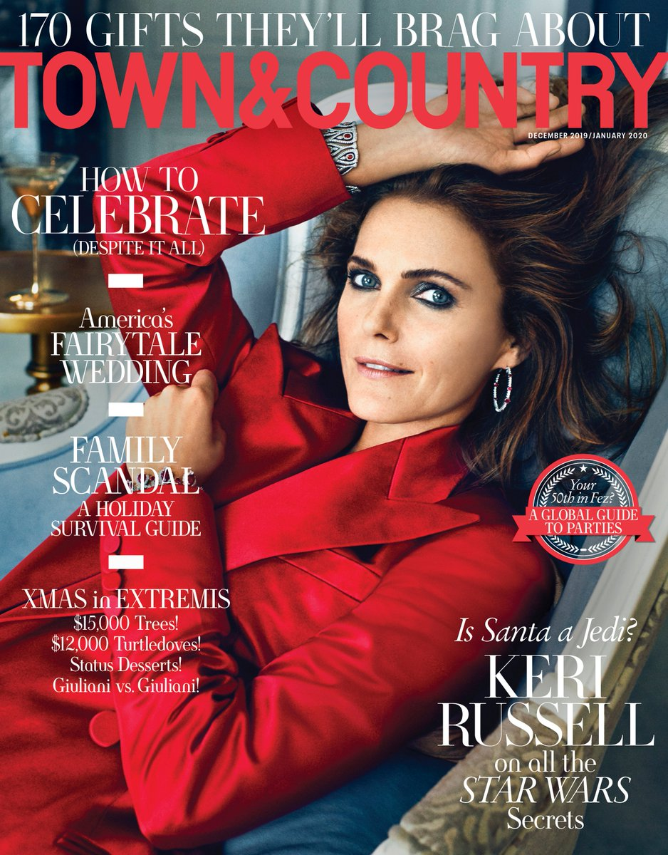 Keri Russell featured on the cover of @TandCmags December issue wearing an #RLCollection Fall 2019 silk tuxedo jacket Editor in Chief: @TheRealStellene Photoghrapher: Marc Hom Stylist: Anne Christensen #RLEditorials