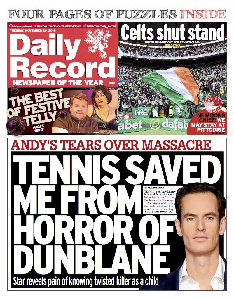 """Tuesday's Daily RECORD: """"Tennis Saved Me From Horror Of Dunblane"""" #BBCPapers #TomorrowsPapersToday"""