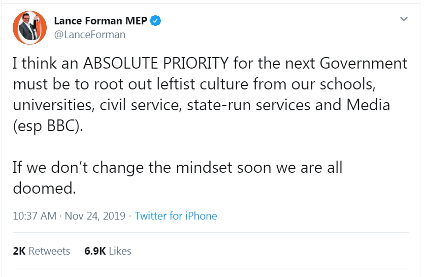 This tweet has 2k retweets and nearly 7k likes.  I never say this but this time it can't be avoided; this is the language and thinking of fascists; the language of book burning, banning & worse. @Fox_Claire might you care to comment on the views of your fellow Brexit Party MEP?