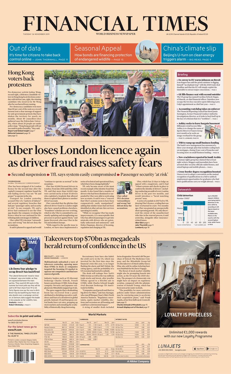 """Tuesday's FINANCIAL TIMES: """"Uber loses London licence again as driver fraud raises safety fears"""" #BBCPapers #TomorrowsPapersToday"""