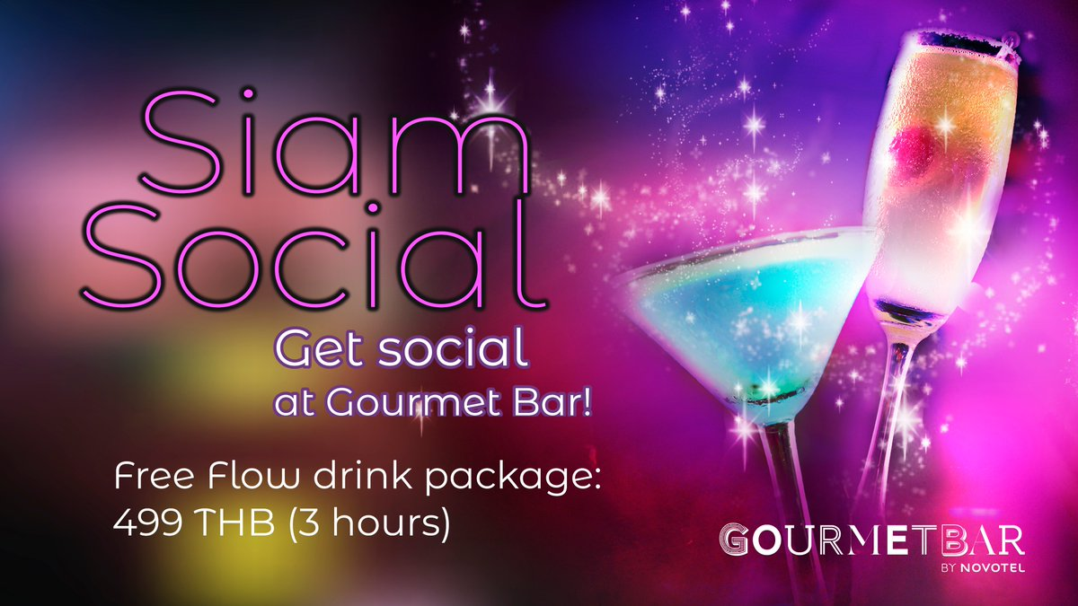 "Join us ""Siam Social"" event night at Gourmet Bar. The event will feature DJ Nemo Cools spinning music and win big prizes with a lucky draw.  click ""going"" on 📍 https://t.co/lmXxIwc5q9 get a FREE drink!  #party #hangouts #Novotelsiam https://t.co/TcV4Qy6Tw4"